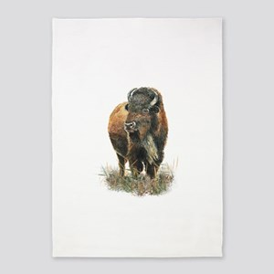 Watercolor Buffalo Bison Animal Art 5'x7'area Rug