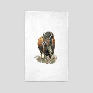 Watercolor Buffalo Bison Animal Art 3'x5' Area Rug