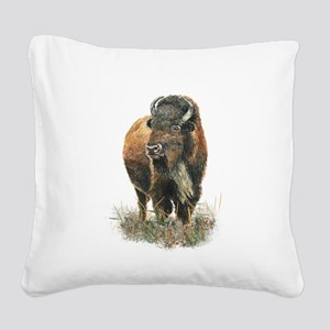 Watercolor Buffalo Bison Animal Art Square Canvas