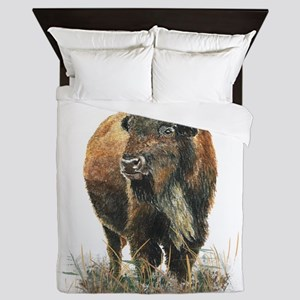 Watercolor Buffalo Bison Animal Art Queen Duvet