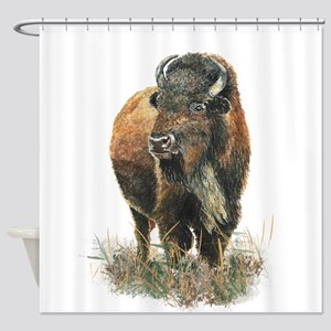 Watercolor Buffalo Bison Animal Art Shower Curtain