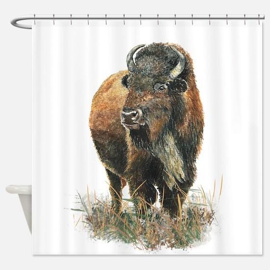 Watercolor Buffalo Bison Animal Art Shower Curtain