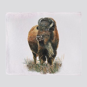 Watercolor Buffalo Bison Animal Art Throw Blanket