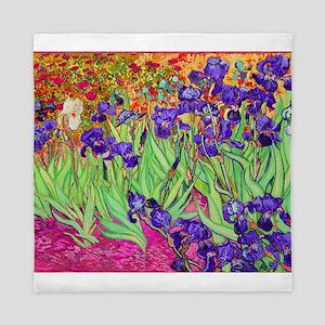 van gogh purple iris Queen Duvet