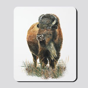 Watercolor Buffalo Bison Animal Art Mousepad