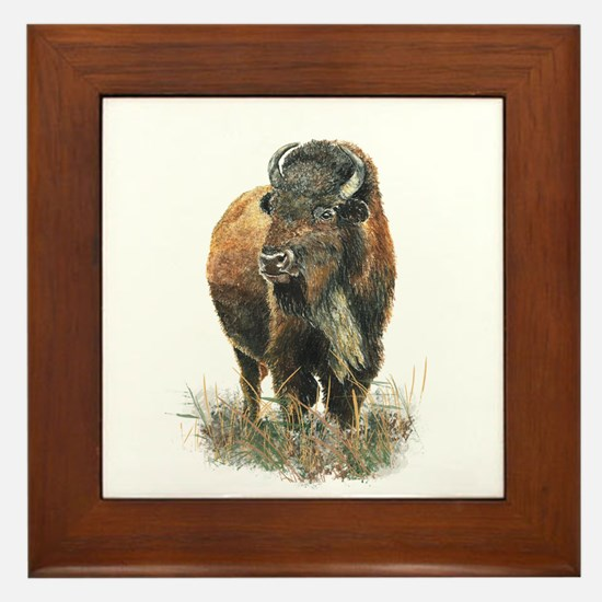 Watercolor Buffalo Bison Animal Art Framed Tile