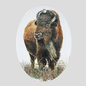 Watercolor Buffalo Bison Animal Art Ornament (Oval