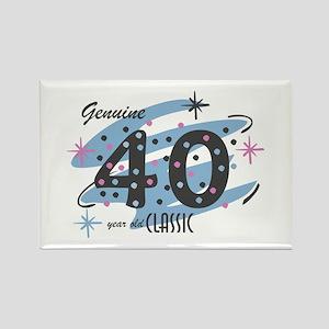 Classic 40 Confetti Rectangle Magnet