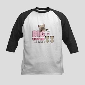 Big Sister of Twins (Kitty) Kids Baseball Jersey