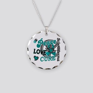 Scleroderma Peace Love Cure Necklace Circle Charm