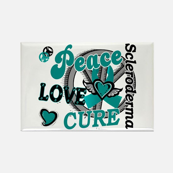 Scleroderma Peace Love Cure 2 Rectangle Magnet