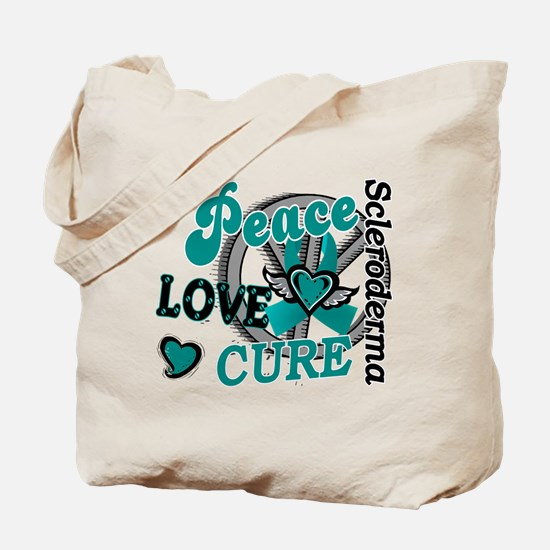 Scleroderma Peace Love Cure 2 Tote Bag