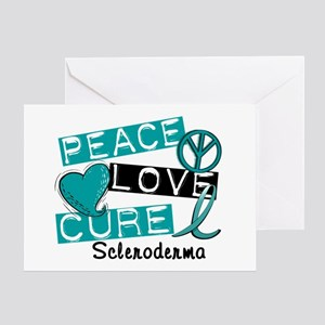 Scleroderma Peace Love Cure 1 Greeting Card