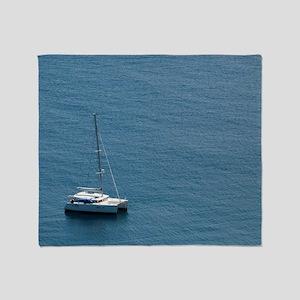 Luxury sailing catamaran Throw Blanket