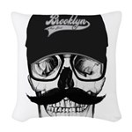 Skull Brooklyn Cap Woven Throw Pillow