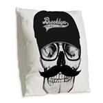 Skull Brooklyn Cap Burlap Throw Pillow