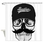 Skull Brooklyn Cap Shower Curtain