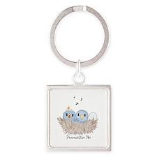 Baby Bird Square Keychain