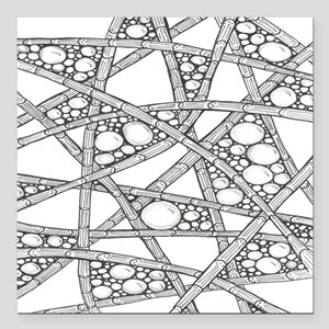 """Funky Black and White Ba Square Car Magnet 3"""" x 3"""""""