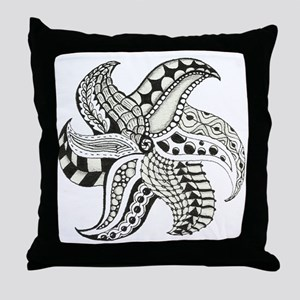 Black and White Doodle Seastar or Sta Throw Pillow