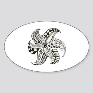 Black and White Doodle Seastar or S Sticker (Oval)