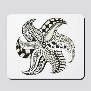 Black and White Doodle Seastar or Starfi Mousepad