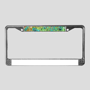 van gogh teal irises License Plate Frame