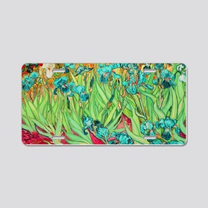 van gogh teal irises Aluminum License Plate