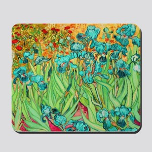 van gogh teal irises Mousepad