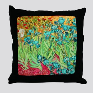 van gogh teal irises Throw Pillow