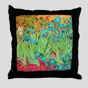 van gogh teal irises Throw Pillow