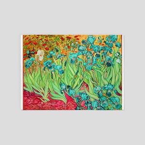 van gogh teal irises 5'x7'Area Rug