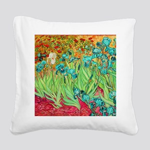 van gogh teal irises Square Canvas Pillow