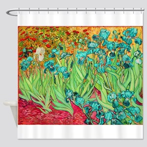 van gogh teal irises Shower Curtain