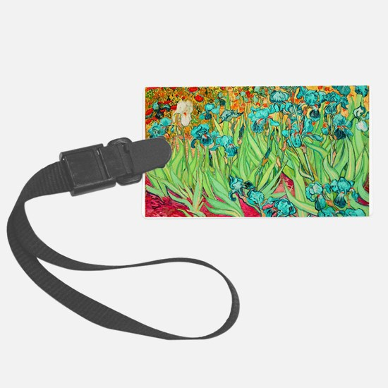 van gogh teal irises Luggage Tag