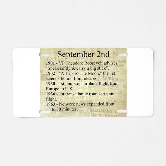 September 2nd Aluminum License Plate