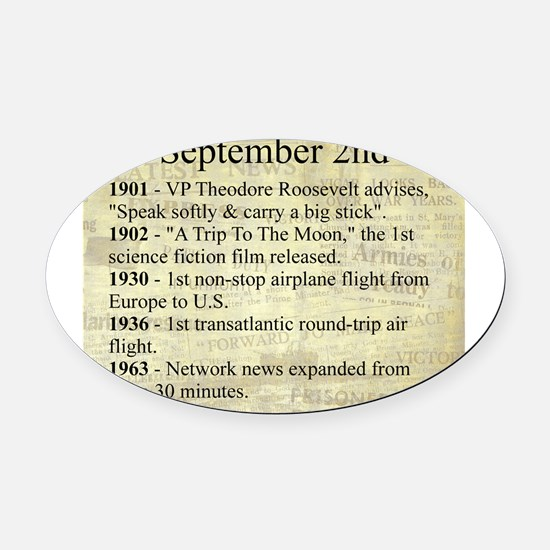 September 2nd Oval Car Magnet