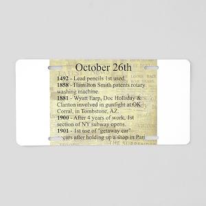 October 26th Aluminum License Plate