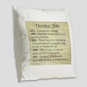October 26th Burlap Throw Pillow