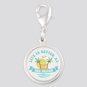 Life's Better At The Beach Silver Round Charm