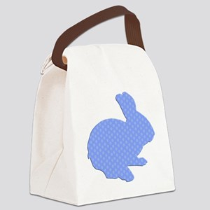 Blue Polka Dot Silhouette Easter Bunny Canvas Lunc