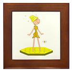 Beehive Cute Girl Framed Tile
