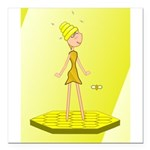 Beehive Cute Girl Square Car Magnet 3