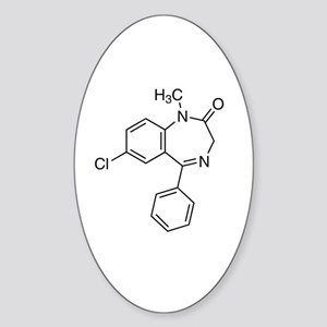Diazepam Molecule Sticker (Oval)