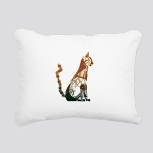 Steampunk Bronze Cat Rectangular Canvas Pillow