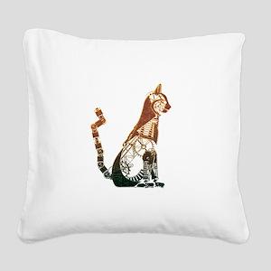 Steampunk Bronze Cat Square Canvas Pillow