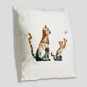 Steampunk Bronze Cats Burlap Throw Pillow