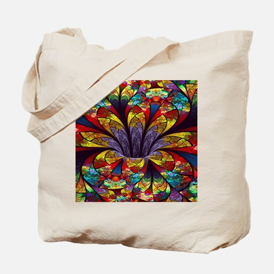 Fractal Stained Glass Bloom Tote Bag