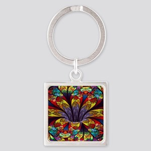 Fractal Stained Glass Bloom Square Keychain