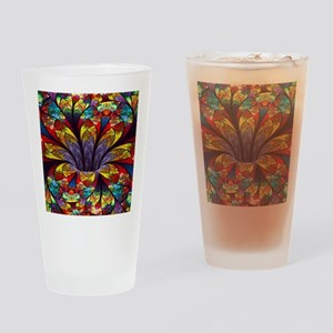 Fractal Stained Glass Bloom Drinking Glass